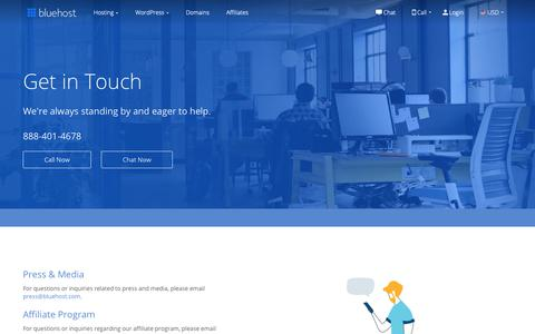 Screenshot of Contact Page bluehost.com - Contact Us - Bluehost - captured June 11, 2019