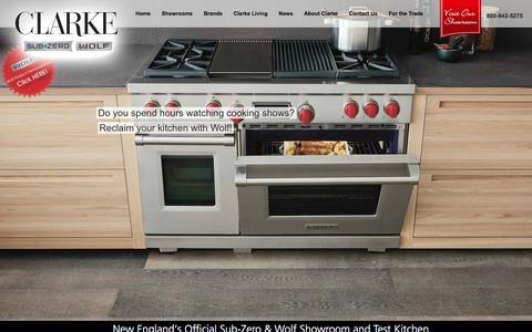 Screenshot of Home Page clarkeliving.com - Clarke Kitchen and Design Showroom - Milford and Norwalk - captured Jan. 28, 2016