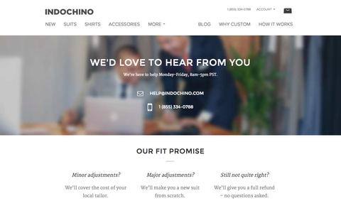 Screenshot of Contact Page indochino.com - Indochino Help - captured Oct. 28, 2014