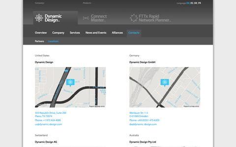 Screenshot of Locations Page dynamic-design.com - Dynamic Design   Efficiency Tools for Engineers - captured Oct. 5, 2014