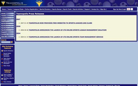 Screenshot of Press Page teamopolis.com - Teamopolis Press Releases - captured June 29, 2017