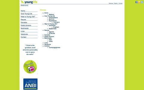 Screenshot of Site Map Page younglife.nl - Sitemap - Young Life NL - captured Oct. 7, 2014