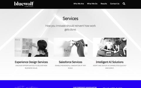 Screenshot of Services Page bluewolf.com - Services - captured Oct. 18, 2019