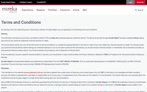 Screenshot of Terms Page eurekareport.com.au - Terms and Conditions | Eureka Report - captured May 21, 2017