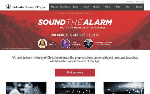 Screenshot of Home Page orlandohop.org - Orlando House of Prayer - Orlando House of Prayer - captured Feb. 14, 2016