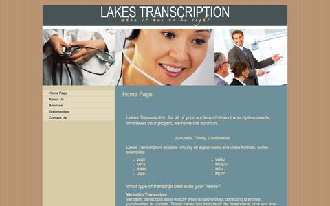 Screenshot of Home Page lakestranscription.com - Home Page - captured Sept. 29, 2014