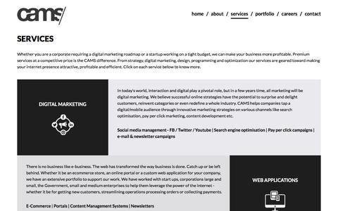 Screenshot of Services Page camstech.com - Digital Agency - Dubai, Bangalore, Cochin - Services - captured Jan. 24, 2016