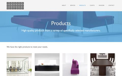 Screenshot of Products Page vcoffices.com - Products «  Vangard Concept Offices - captured Sept. 25, 2016
