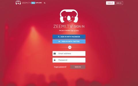 Screenshot of Login Page zeemi.tv - Your live streaming tool - Zeemi.tv - captured Feb. 23, 2016