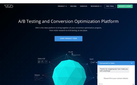 Screenshot of Home Page vwo.com - VWO A/B Testing and Conversion Optimization Platform - captured Sept. 6, 2017