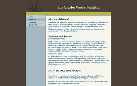 Screenshot of Services Page hisgreaterworks.com - His Greater Works Ministry - - captured Sept. 30, 2014