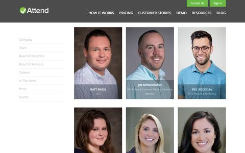 Screenshot of Team Page attend.com - The Attend Team  | Attend - captured Feb. 6, 2016