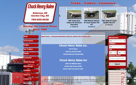 Screenshot of Locations Page chuckhenry.com - Solomon, Garden City & Kansas City Dealer Map & Hours | Commercial Truck Sales & Rentals - captured Sept. 28, 2018