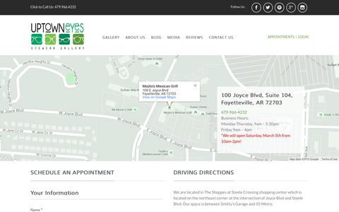 Screenshot of Contact Page uptowneyesnwa.com - Uptown Eyes Optical Shop Contact Us - captured Feb. 14, 2016