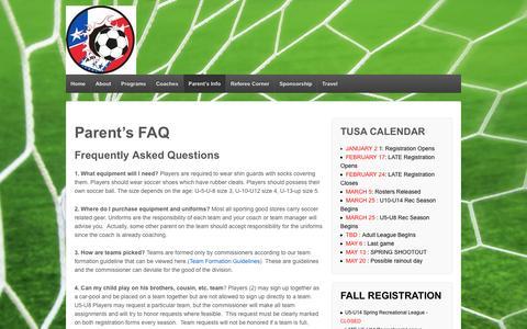 Screenshot of FAQ Page texarkanasoccer.com - Parent's FAQ | Texarkana United Soccer Association - captured April 6, 2017