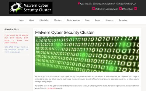Cyber Valley: Malvern Cyber Security Cluster