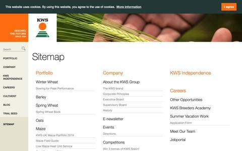 Screenshot of Site Map Page kws-uk.com - KWS UK Ltd. - Sitemap - captured Oct. 14, 2018