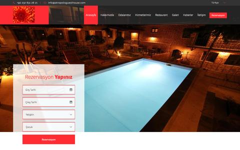 Screenshot of Home Page akropolisguesthouse.com - AKROPOLIS GUEST HOUSE BERGAMA İZMİR 0 232 631 26 21 - captured May 29, 2017