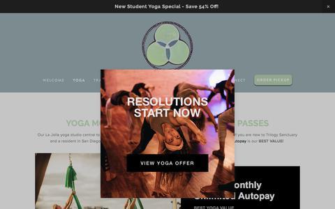 Screenshot of Pricing Page trilogysanctuary.com - San Diego Yoga Studio Deals & Memberships | Trilogy Sanctuary - captured Jan. 10, 2018