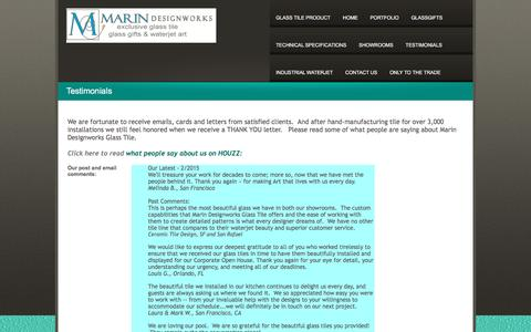 Screenshot of Testimonials Page marindesignworks.com - TESTIMONIALS - captured Feb. 4, 2016