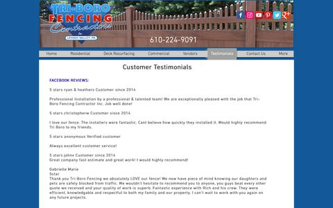 Screenshot of Testimonials Page tri-borofencing.com - Tri-Boro Fencing Contractors | 610.224.9091 | Walnutport PA - captured Oct. 20, 2018