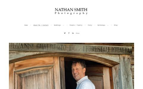 Screenshot of About Page nathansmithphotography.com - NATHAN SMITH Photography Wedding photography Italy Photographic workshops Pisa Tuscany Italy Destination wedding photographer Private photography workshops in Tuscany Italy - About Me / Contact - captured Jan. 12, 2016