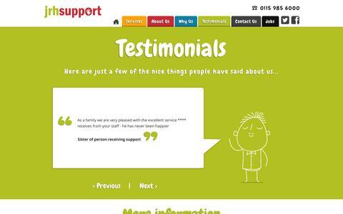 Screenshot of Testimonials Page jrhsupport.co.uk - Testimonials - JRH Support - captured Nov. 3, 2014