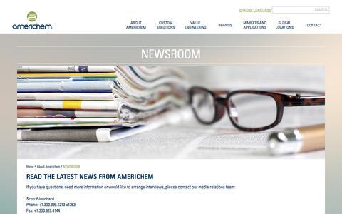 Screenshot of Press Page americhem.com - Americhem News Room - captured Dec. 25, 2015