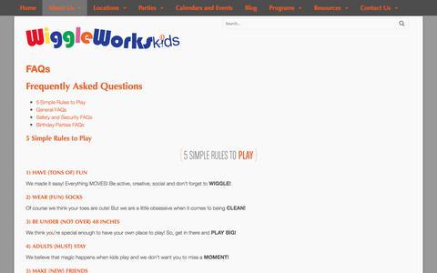 Screenshot of FAQ Page wiggleworkskids.com - FAQs • WiggleWorksKids - captured June 13, 2017
