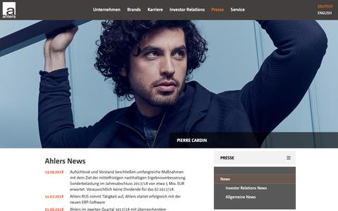 Screenshot of Press Page ahlers-ag.com - Ahlers AG: News - captured Oct. 3, 2018