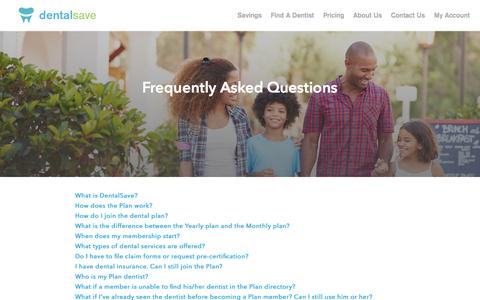 Screenshot of FAQ Page dentalsave.com - FAQ | DentalSave Discount Dental Plan - captured Jan. 7, 2016