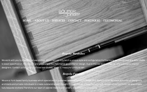 Screenshot of Services Page baumerjoinery.com - Baumer Joinery :: Services - captured Dec. 18, 2018