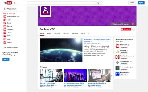 Screenshot of YouTube Page youtube.com - Achievers TV  - YouTube - captured Oct. 22, 2014
