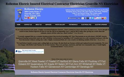 Screenshot of Testimonials Page rollestonelectric.com - Rolleston Electric Insured Electrician Granville NY Electrician Contractor Testimonials - captured Oct. 9, 2014