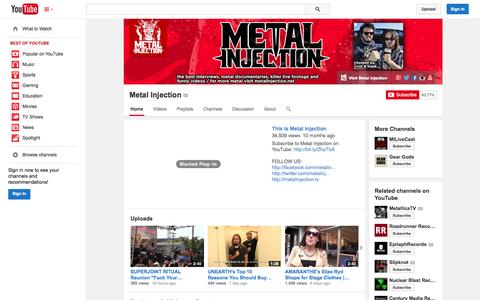 Screenshot of YouTube Page youtube.com - Metal Injection  - YouTube - captured Oct. 29, 2014
