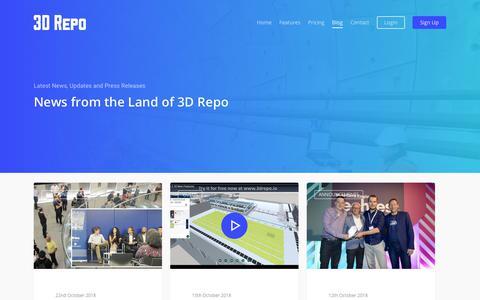 Screenshot of Blog 3drepo.org - Blog – 3D Repo BIM Online - captured Nov. 2, 2018