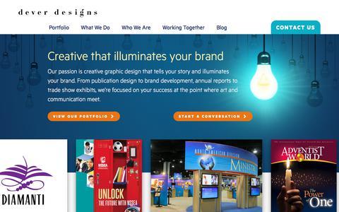 Screenshot of Home Page deverdesigns.com - Creative Graphic Design - captured June 4, 2017
