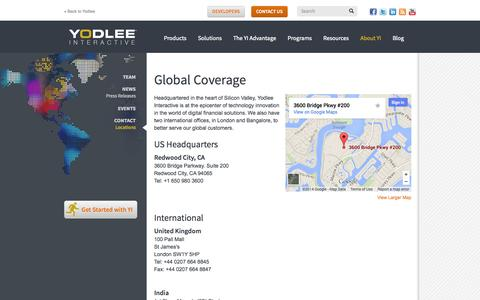 Screenshot of Locations Page yodlee.com - Locations | Yodlee Interactive - captured Sept. 17, 2014