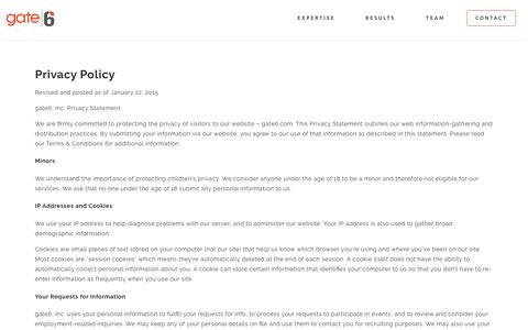 Privacy Policy - Gate6