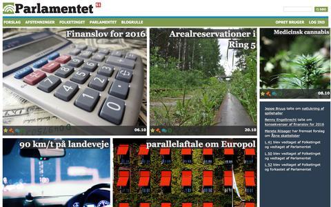 Screenshot of Home Page parlamentet.dk - Deltagende demokrati i Danmark - captured Jan. 25, 2016
