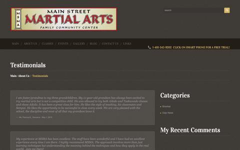 Screenshot of Testimonials Page mainstma.org - Testimonials  |  Main Street Martial Arts - captured Oct. 30, 2018
