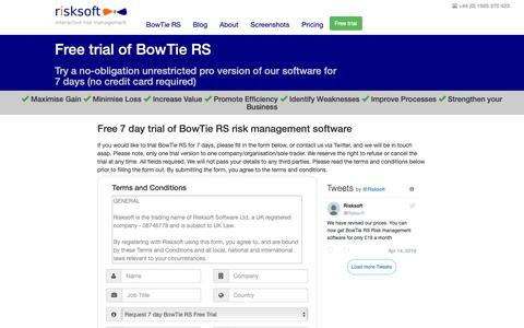 Screenshot of Trial Page risk-soft.com - Risksoft | Bowtie RS | Software Free Trial - captured May 30, 2019