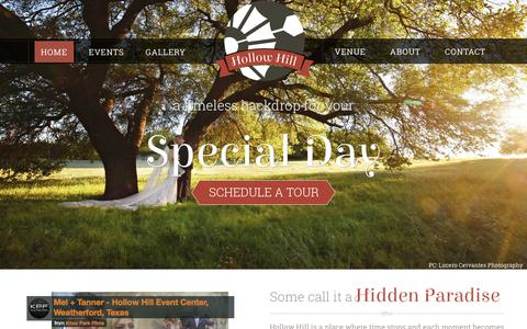 Screenshot of Home Page hollowhilleventcenter.com - Outdoor Wedding Venue Near Me | Weatherford, Texas - captured July 22, 2019