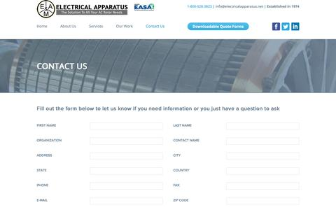 Screenshot of Contact Page electricalapparatus.net - Contact Us - Electrical Apparatus - captured Nov. 3, 2016