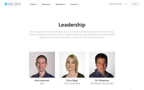 Screenshot of About Page Team Page theneura.com - Leadership | Neura Artificial Intelligence | AI As A Service - captured Nov. 17, 2018