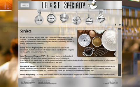 Screenshot of Services Page laspecialty.com - LA & SF Specialty - Services - captured Oct. 1, 2014