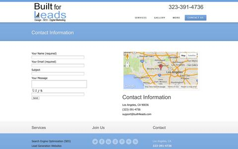 Screenshot of Contact Page built4leads.com - Contact Information | Built for Leads - captured Oct. 5, 2014