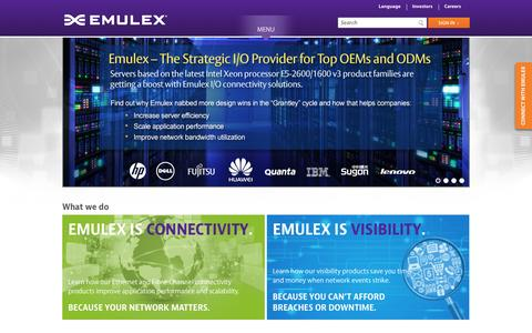 Screenshot of Home Page emulex.com - Emulex Corporation - captured Sept. 30, 2014