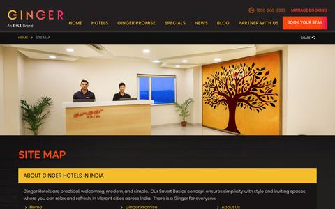 Screenshot of Site Map Page gingerhotels.com - About India's Best Budget Hotels | Site Map | Ginger Hotels - captured Sept. 30, 2018