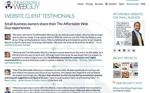 Screenshot of Testimonials Page theaffordablewebguy.com - Small Business Website Testimonials & Referrals - captured March 6, 2016